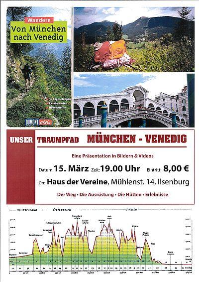 """Plakat """"Unser Traumpfad - München - Venedig"""""""